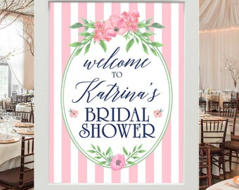 Bridal Shower Sign - Shower Decoration - Welcome to Bridal Shower | Pink White Stripes -  Personalized Bridal Sign with Brides' Name