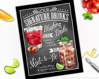 Summer Wedding Decoration | Signature Drink Sign - DUAL DRINKS - Personalized  Weddings, Parties, Events - Made to Order - All Custom