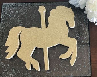 Carousel horse centerpiece-Carousel themed party-Merry go round horse-Birthday-Carousel decoration-Carousel centerpiece-Gold glitter