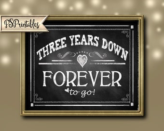 Printable 3rd Anniversary - THREE years down FOREVER to go - Anniversary Printable - Printable Anniversary Sign Rustic Chalkboard Collection