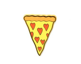 Pizza Enamel Pin - Heart Shaped Pepperoni Pizza Slice Lapel Pin