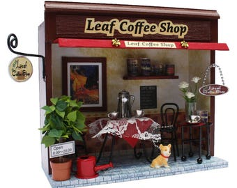 Handmade Dollhouse Kit,shop of a street corner,Leaf Coffee shop