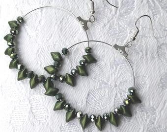Green crystal large hoop earrings, Silver hoop, Green silver earrings, Bead hoops, Boho earrings, Ethnic earrings, Diamond drop hoops