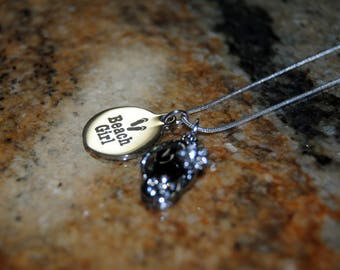 Flip Flop Necklace with Quote Charm - Black
