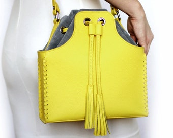 Free shipping! Yellow bag, bucket bag, yellow gray bag, woman bag, bucket bag, yellow leather bag, shoulder bag, suede bag, yellow crossbody