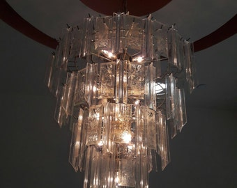Vintage 1970s Art Deco South Beach chandelier
