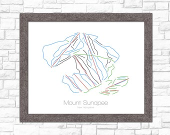 Mount Sunapee Map New Hampshire NH Ski Snowboard Trail Map Art --- Print, Poster, Picture --- Frame, Gift --- Resort, Mountain, Snow, Winter