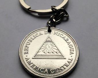 2007 Nicaragua 5 cordoba coin pendant Nicaraguense Nica Nicoya necklace Managua mountains sunrise pyramid Granada America Central n001950
