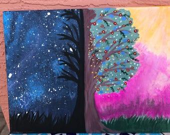 Original Day and night handmade Tree painting