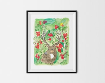 Horns & Apples Deer 11x14 Art Print