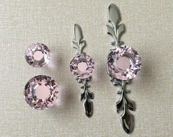 Pink Crystal Knob Rhinestone Dresser Knobs Glass Drawer Knob Pulls Handles  Silver Chrome Kitchen Cabinet Knobs