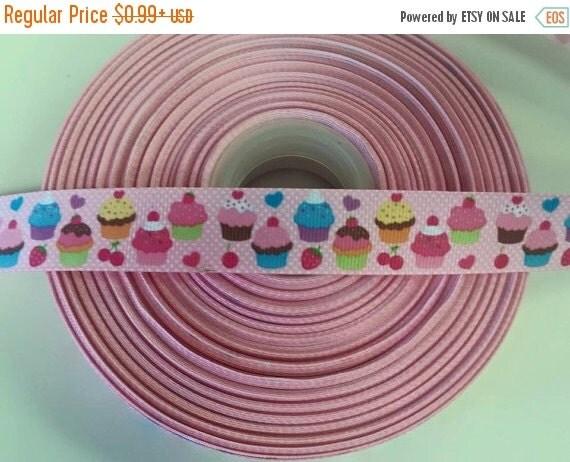 "SUPER SALE BIRTHDAY Cupcakes 7/8"" 22mm Grosgrain Hair Bow Craft Ribbon 781849"