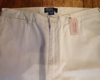 """Vintage beige cotton Ralph Lauren chino trousers Ivy League style mod preppy 32"""" x 30"""""""