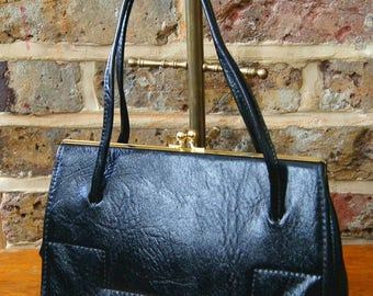 Vintage Made in England Patent Double Handle Black Leather 'Kelly' Style Handbag - Elbief Frame Handbag - LBF Frame Black Handbag