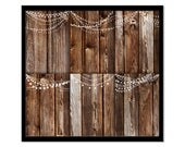 Rustic Wood and Fairy Lights 5x7 inch Instant Download Invitations Scrapbooking Backgrounds
