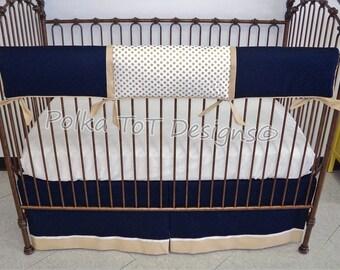 Navy &  Metallic Gold Bumper-free crib bedding: Unisex/Gender Neutral- Kenner