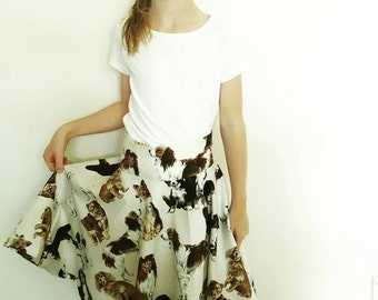 Girl's circle skirt, made to order, dog pattern, summer skirt, dog lover, made to measure, gift for young daughter, dog person, grandchild