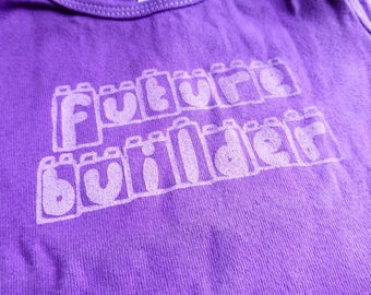 "Baby LEGO T-Shirt ""Future Builder"" Infant Screen Printed American Apparel Purple Cotton Lap Tee"