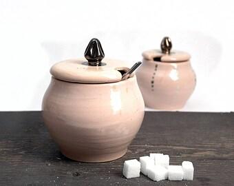 Baby pink pottery, ceramic sugar basin, ceramic sugar bowl, pottery sugar jar, sugar box