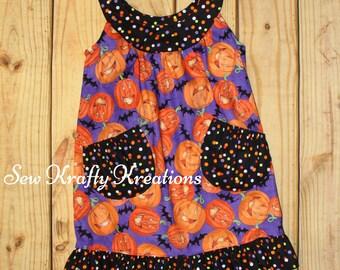 Girl's Jumper Dress - Pumpkins and Multi-Color Dots