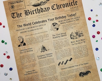 "18th Birthday Gift Personalized 8.5"" X 11"" Print Headline News Time Capsule Newsletter Style 1999 Birthday Chronicle Milestone"