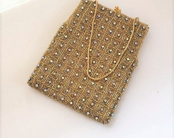 Vintage Gold and Rhinestone Purse Shimmer and Shine for a Special Event Gold Evening Bag