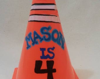 Cute Traffic Cone Centerpieces, Personalized Traffic Cones, Table Top Traffic Cones