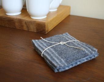 Gray Striped Pendleton Wool Coasters - Set of 4