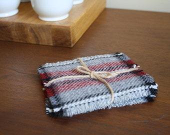 Light Gray Plaid Pendleton Wool Coasters - Set of 4