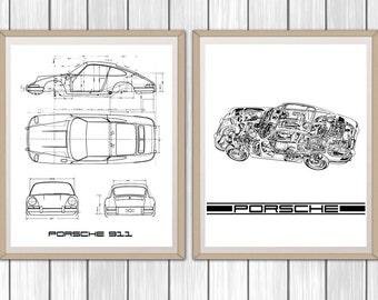 "Porsche 911 Decor, Set of 2, Porsche 911 Posters, Classic Porsche 911, Porsche Garage Art, Instant Download, Porsche Poster, 8x10"", 11x14"""