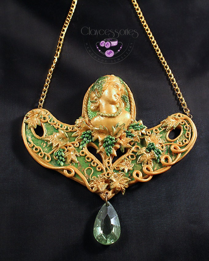 Art Nouveau Vintage Lady Grapes Necklace Polymer Clay Jewelry