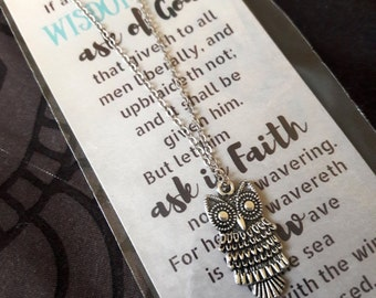 Young Women 2017 evening of excellence Scripture Theme Owl Necklace and Bookmark yw gifts christmas gifts lds