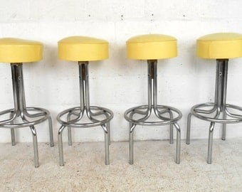 Set of Four Vintage Vinyl and Chrome Counter/Bar Stools