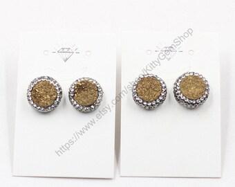 Druzy Stud Earrings -- With Drusy Wholesale bridesmaid Jewelry earrings YHA-201