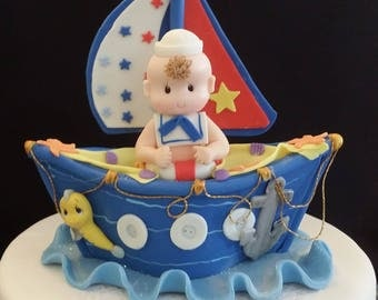 Nautical Cake Topper, Sailor Cake Topper, Sailboat Cake Topper, Nautical, Sailor Baby Shower, Nautical Birthday Cake, Nautical Baby Shower