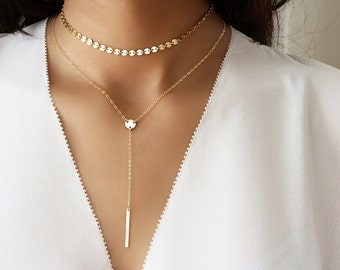 Gold Chain choker, Gold coin necklace, Tattoo choker in gold and silver, Boho choker, Gold Layering necklace, Silver Dainty chain choker