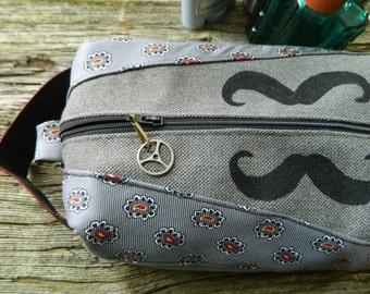 Mens dopp kit bag / masculine lined toiletry bag /  mustache shaving bag / soft side dopp bag