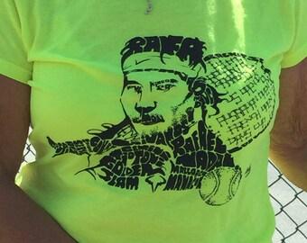 Rafa Tennis Rafael Nadal Yellow Green Ladies Sport T-Shirt Created With Wortangles Word Art