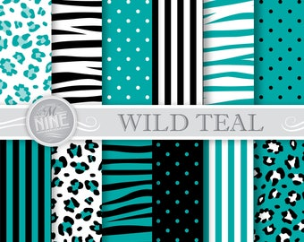 "WILD TEAL Patterns 12"" x 12"" Digital Paper Pack Blue Pattern Prints, Instant Download, Backgrounds Zebra Leopard Print"