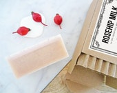 rosehip milk face soap | gentle facial cleanser for dry & sensitive skin types with anti-aging rose hip, pink clay and coconut milk | 4 oz