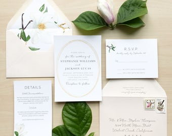 Magnolia Floral Wedding Invitation Suite / Sample or Deposit / #1115