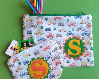 Cars. Perfectly Practical, Personalised or Plain,  Pencil case and/or Purse. Made to Order.