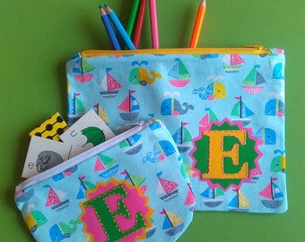 By the Sea. Perfectly Practical, Personalised or Plain,  Pencil case and/or Purse. Made to Order.