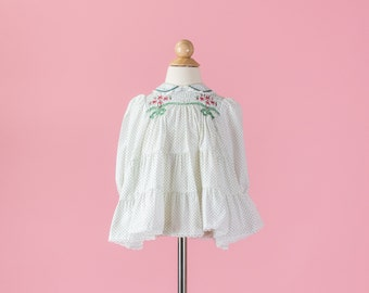 Vintage White And Green Smocked Holiday Dress (Size 3/6 Months)