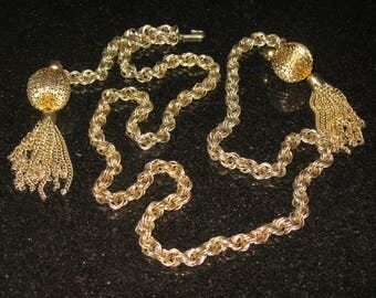 Heavy Gold Tone Tassel Dual Use Belt and Necklace  41 inch