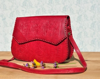 Pink leather bag, tooled leather purse, tooled leather bag, colorful leather bag, pink leather purse