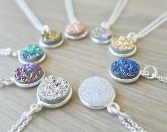 Druzy Necklace, Sterling Silver, Metallic Druzy, Modern Druzy, Rose Gold, Green Druzy, Gold Druzy, Quartz Druzy, Genuine Druzy, White Druzy