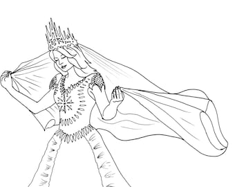Queen Esther Adult Coloring Page Bible