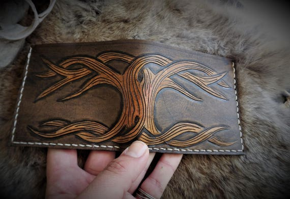 Viking Leather Wallet - Yggdrasil Bifold Wallet - Tree of Life Wallet