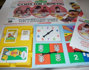 Sesame Street Games for Growing Card Board 1986